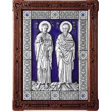 Икона Петр и Павел в серебре с эмалью и деревянной рамке (арт. 12240381)