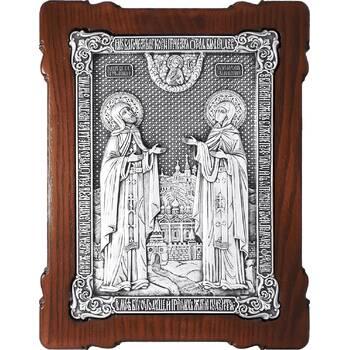 Икона Петр и Феврония в серебре и деревянной рамке (арт. 12240382)