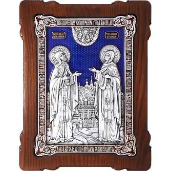 Икона Петр и Феврония в серебре с эмалью и деревянной рамке (арт. 12240383)