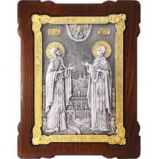 Икона Петр и Феврония в серебре с позолотой и деревянной рамке (арт. 12240384)