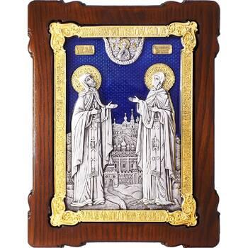 Икона Петр и Феврония в серебре с эмалью и позолотой (арт. 12240385)