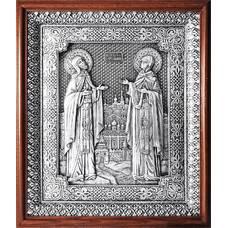 Икона Петр и Феврония в серебре и деревянной рамке с басмой (арт. 12240386)