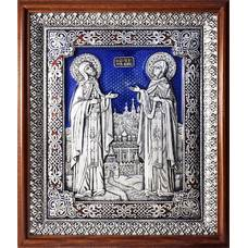 Икона Петр и Феврония в серебре с эмалью и деревянной рамке с басмой (арт. 12240387)