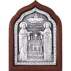 Икона Петр и Феврония в серебре и деревянной рамке (арт. 12240388)