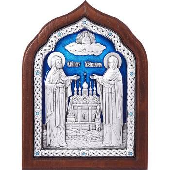 Икона Петр и Феврония в серебре с эмалью и деревянной рамке (арт. 12240389)