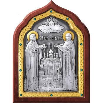 Икона Петр и Феврония в серебре с позолотой и деревянной рамке (арт. 12240390)
