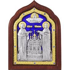 Икона Петр и Феврония в серебре с эмалью и позолотой (арт. 12240391)