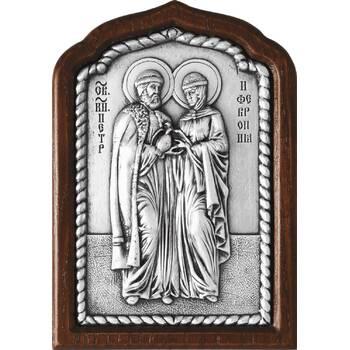 Икона Петр и Феврония в серебре и деревянной рамке (арт. 12240392)