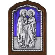 Икона Петр и Феврония в серебре с эмалью и деревянной рамке (арт. 12240393)