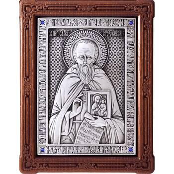 Икона Савва Сторожевский в серебре и деревянной рамке (арт. 12240394)