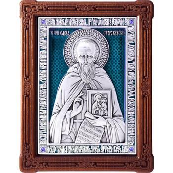 Икона Савва Сторожевский в серебре с эмалью и деревянной рамке (арт. 12240395)