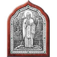 Икона Серафим Вырицкий в серебре и деревянной рамке (арт. 12240396)