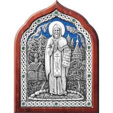 Икона Серафим Вырицкий в серебре с эмалью и деревянной рамке (арт. 12240397)
