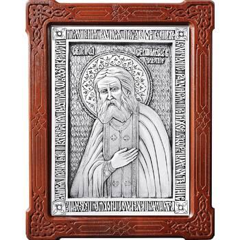 Икона Серафим Саровский в серебре и деревянной рамке (арт. 12240398)