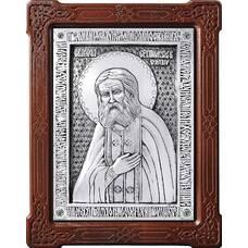 Икона Серафим Саровский в серебре и деревянной рамке (арт. 12240399)