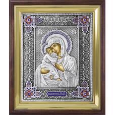 Владимирская икона Божией матери в ризе с эмалью и в деревянном киоте (арт. 122404)