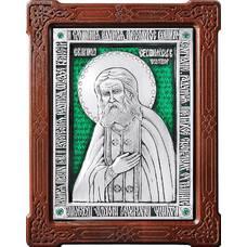 Икона Серафим Саровский в серебре с эмалью и деревянной рамке 12240400