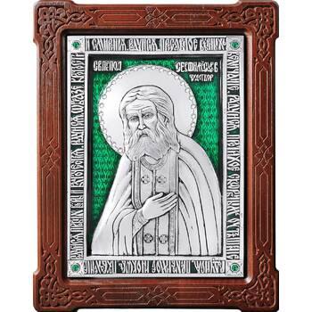 Икона Серафим Саровский в серебре с эмалью и деревянной рамке (арт. 12240400)