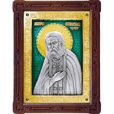 Икона Серафим Саровский в серебре с эмалью и позолотой (арт. 12240402)