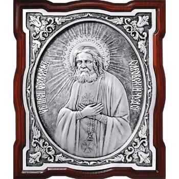 Икона Серафим Саровский в серебре и деревянной рамке (арт. 12240403)