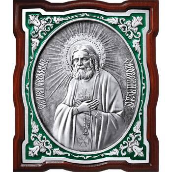 Икона Серафим Саровский в серебре с эмалью и деревянной рамке (арт. 12240404)