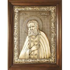 Икона Серафим Саровский на меди в деревянной рамке (арт. 12240405)