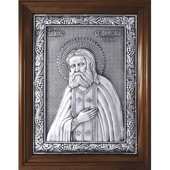 Икона Серафим Саровский в серебре и деревянной рамке (арт. 12240406)