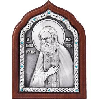 Икона Серафим Саровский в серебре и деревянной рамке (арт. 12240407)
