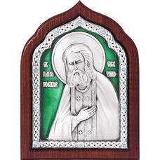 Икона Серафим Саровский в серебре с эмалью и деревянной рамке (арт. 12240408)