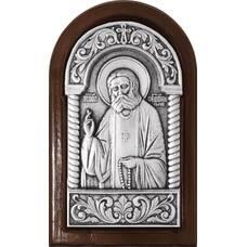 Икона Серафим Саровский в серебре и деревянной рамке (арт. 12240411)
