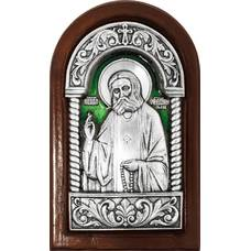 Икона Серафим Саровский в серебре с эмалью и деревянной рамке (арт. 12240412)