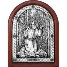 Икона Серафим Саровский в серебре и деревянной рамке (арт. 12240413)