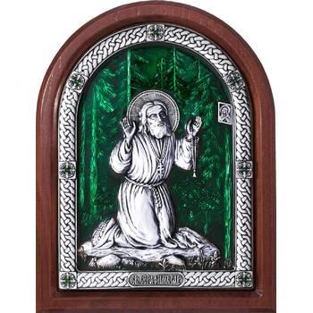 Икона Серафим Саровский в серебре с эмалью и деревянной рамке (арт. 12240414)
