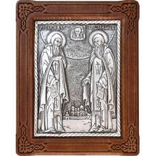Икона Сергий и Герман Валаамские в серебре и деревянной рамке (арт. 12240415)