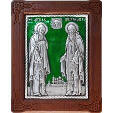 Икона Сергий и Герман Валаамские в серебре с эмалью и деревянной рамке (арт. 12240416)