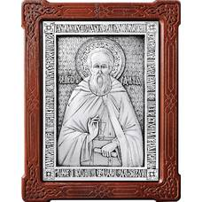 Икона Сергий Радонежский в серебре с позолотой и деревянной рамке (арт. 12240417)