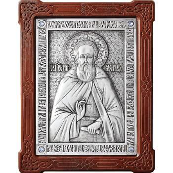 Икона Сергий Радонежский в серебре и деревянной рамке (арт. 12240418)