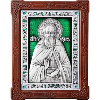 Икона Сергий Радонежский в серебре с эмалью и деревянной рамке (арт. 12240419)