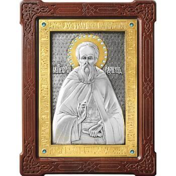 Икона Сергий Радонежский в серебре с позолотой и деревянной рамке (арт. 12240420)