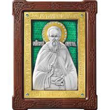 Икона Сергий Радонежский в серебре с эмалью и позолотой (арт. 12240421)