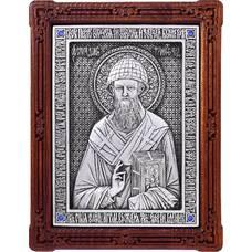 Икона Спиридон Тримифунтский в серебре и деревянной рамке (арт. 12240422)