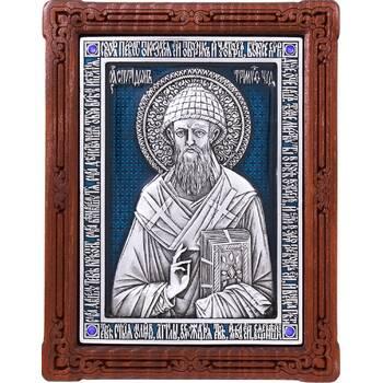 Икона Спиридон Тримифунтский в серебре с эмалью и деревянной рамке (арт. 12240423)