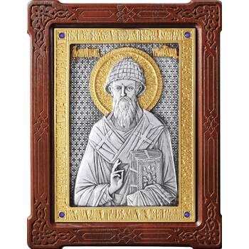 Икона Спиридон Тримифунтский в серебре с позолотой и деревянной рамке (арт. 12240424)
