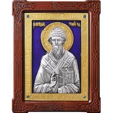 Икона Спиридон Тримифунтский в серебре с эмалью и позолотой (арт. 12240425)