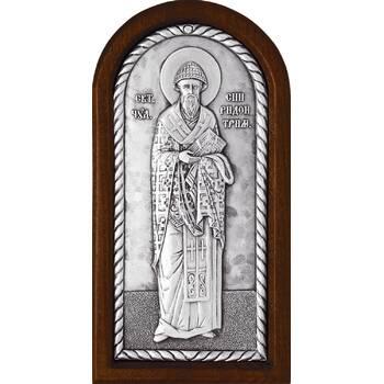 Икона Спиридон Тримифунтский в серебре и деревянной рамке (арт. 12240426)