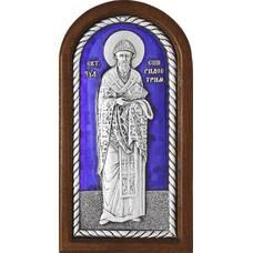 Икона Спиридон Тримифунтский в серебре с эмалью и деревянной рамке (арт. 12240427)