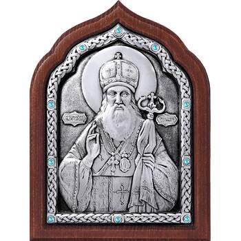 Икона Тихон Задонский, свт. Воронежский и Елецкий в серебре и деревянной рамке (арт. 12240428)