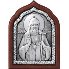 Икона патриарх Тихон в серебре и деревянной рамке (арт. 12240430)