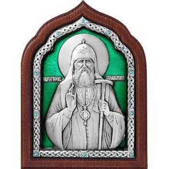 Икона патриарх Тихон в серебре с эмалью и деревянной рамке (арт. 12240431)