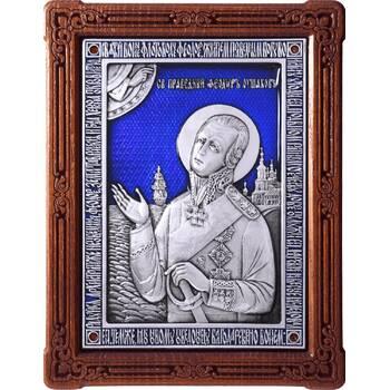 Икона Феодор Ушаков в серебре с эмалью и деревянной рамке (арт. 12240433)